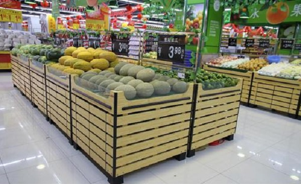 Two layouts of supermarket shelves